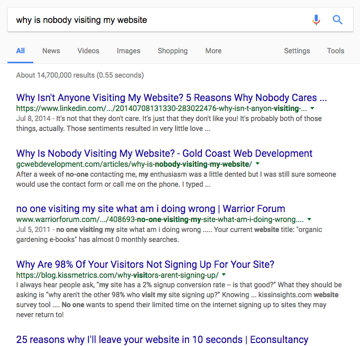 """A snapshot of search engine results asking in the search bar, """"Why is nobody visiting my website?"""""""